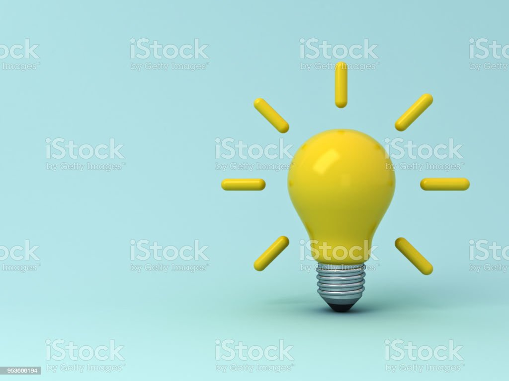 Idea bulb on light blue pastel color background with shadows . 3D rendering stock photo