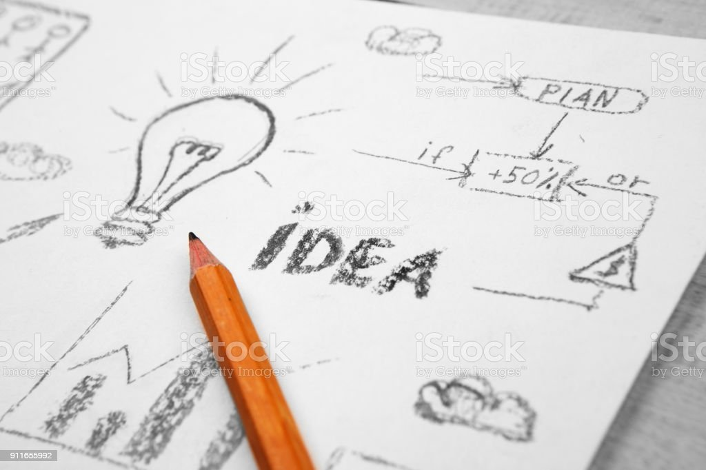 Idea concept - bulb drawn with pencil stock photo