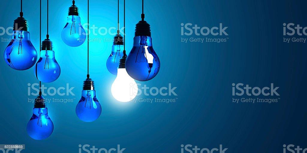 Idea concept, Hanging light bulbs stock photo