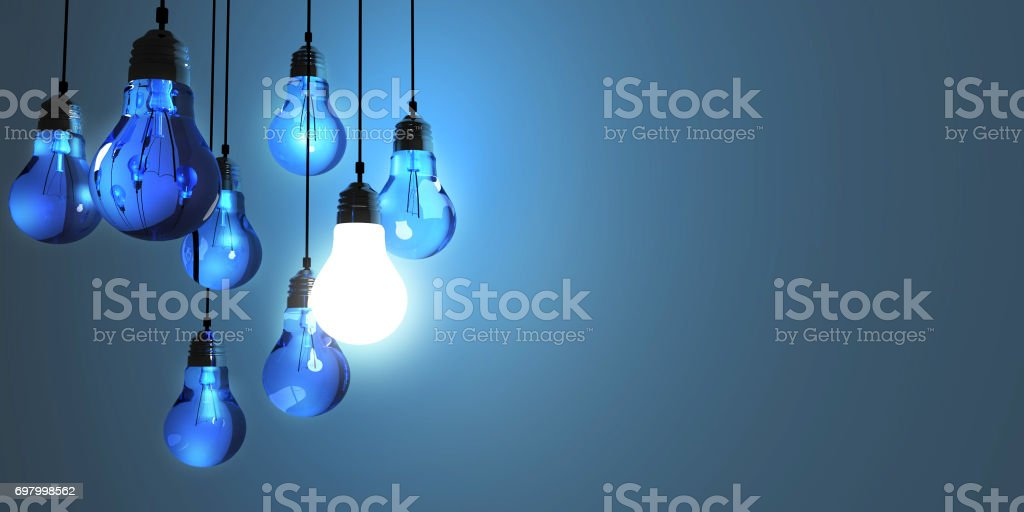 Idea concept, Hanging light bulbs with glowing one isolated on dark blue background.3d rendering stock photo