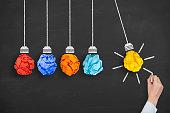 istock Idea Concept Light Bulb Crumpled Paper on Blackboard Background 638705610