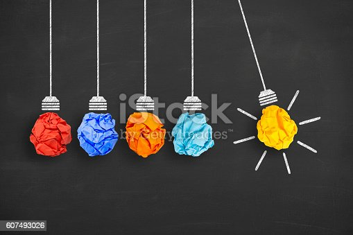 istock Idea Concept Light Bulb Crumpled Paper on Blackboard 607493026