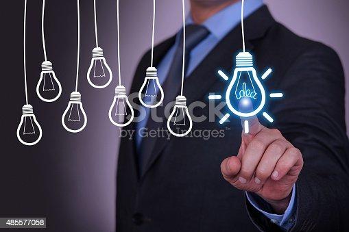 454351815 istock photo Idea Concept Light Bulb on Touch Screen 485577058