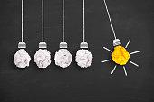 istock Idea Concept Light Bulb Yellow Crumpled Paper on Chalkboard 644627654