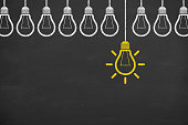 istock Idea concept with light bulbs on a chalkboard background 905395820