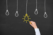istock Idea concept with light bulbs on a chalkboard background 924672438
