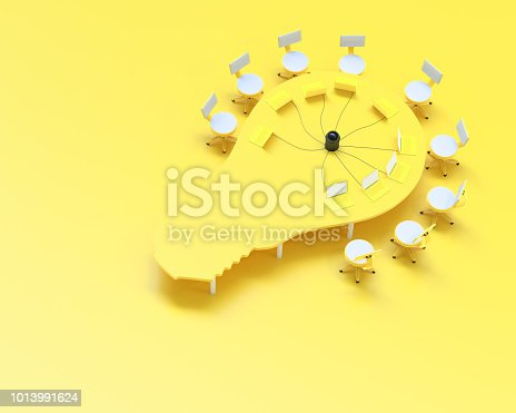 istock idea concept, Work desk table bulb shape and chair yellow color 1013991624