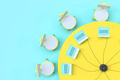 istock Idea concept, Work desk top view table  and chair yellow and blue pastel color 1013991618