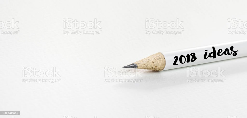 2018 Idea concepts with pencil on white paper stock photo
