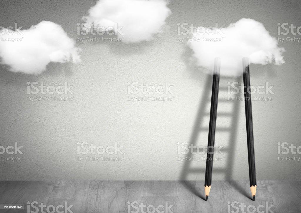 conceito criativo de ideia, lápis escada de nuvens - foto de acervo