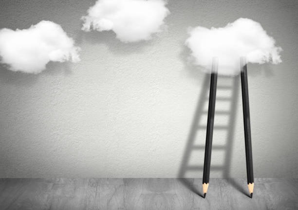 idea creative concept, pencil ladder to clouds - ladder of success stock photos and pictures