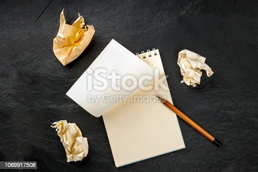 Idea Crisis. A simple spiral note pad with a blank sheet of paper and torn out crumpled pages, shot from the top on a black background with a sharp graphite pencil and a place for text