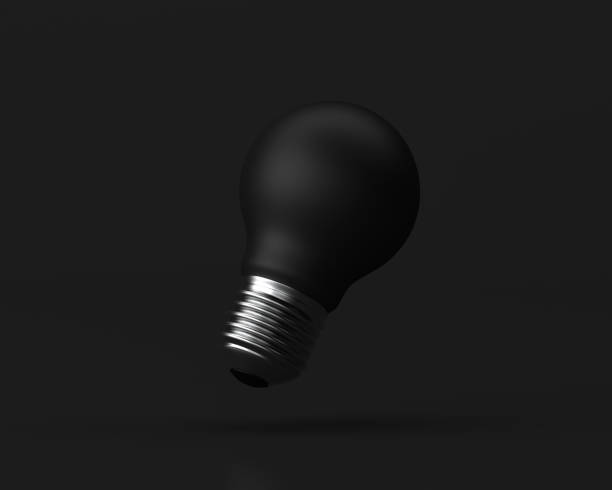 idee-design-konzept, birne auf schwarzem hintergrund - minimale idee konzeptionelle 3d darstellung. - unterrichtsplanung vorlagen stock-fotos und bilder