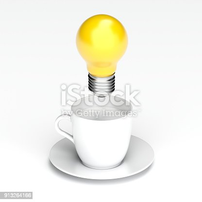 istock Idea Design Concept, idea Bulb over cup of coffee. 913264166