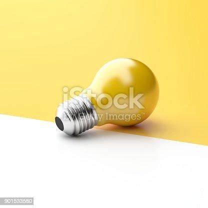 827387052 istock photo Idea Design Concept, Yellow Bulb on two tone brightness background. 901533580