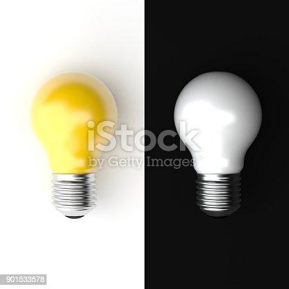 827387052 istock photo Idea Design minimal Concept, two tone bulb on black and white background. 901533578