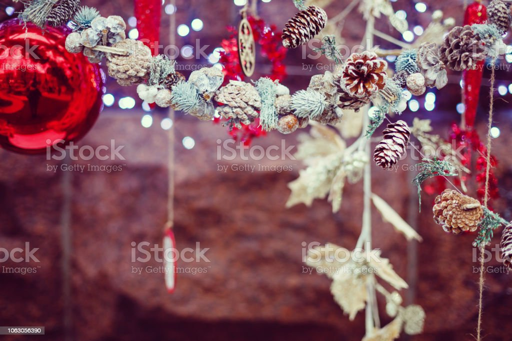 Idea for Christmas postcard, Christmas ornament with cones, spruce,...