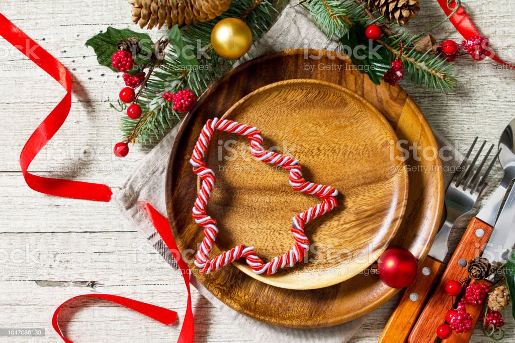 Idea For Festive Table Ware Decoration Christmas Decoration Plate And Cutlery On Festive Table Top View With Copy Space Stock Photo Download Image Now Istock