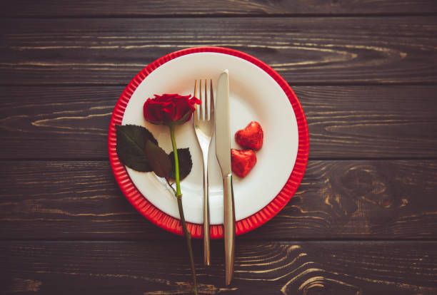 idea for valentine table setting - date night stock pictures, royalty-free photos & images