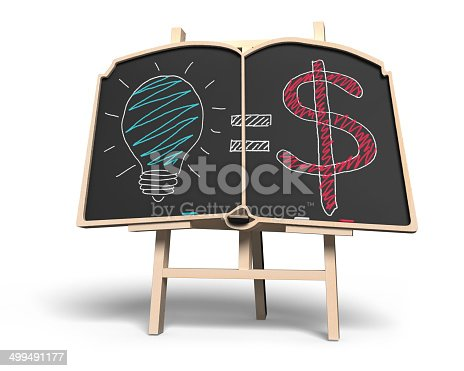 istock Idea is money concept on book shape blackboard 499491177