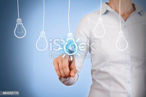 454351815 istock photo Idea Light Bulb Conceptual Touching on Visual Screen 484033770