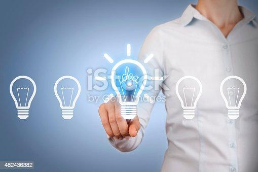 454351815 istock photo Idea Light Bulb on Touch Screen 482436382