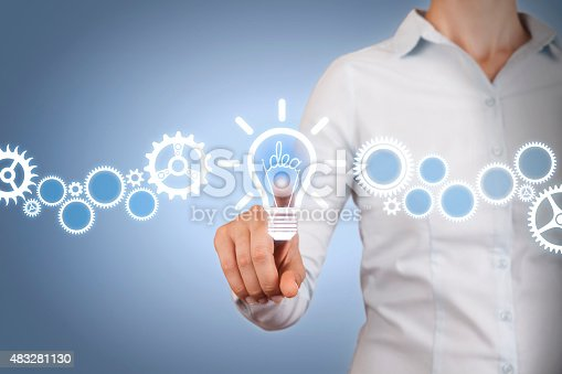 istock Idea Light Bulb Touching on Visual Screen 483281130