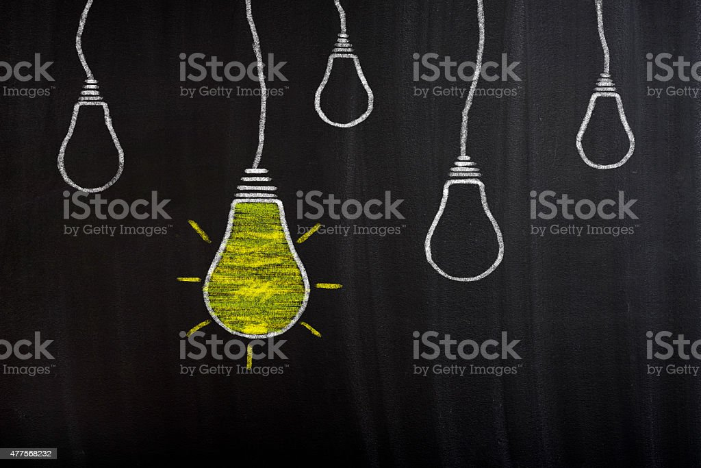 Idea Light Bulbs On Blackboard stock photo