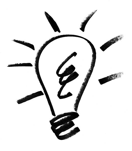 idea lightblub drawing - doodle stock photos and pictures