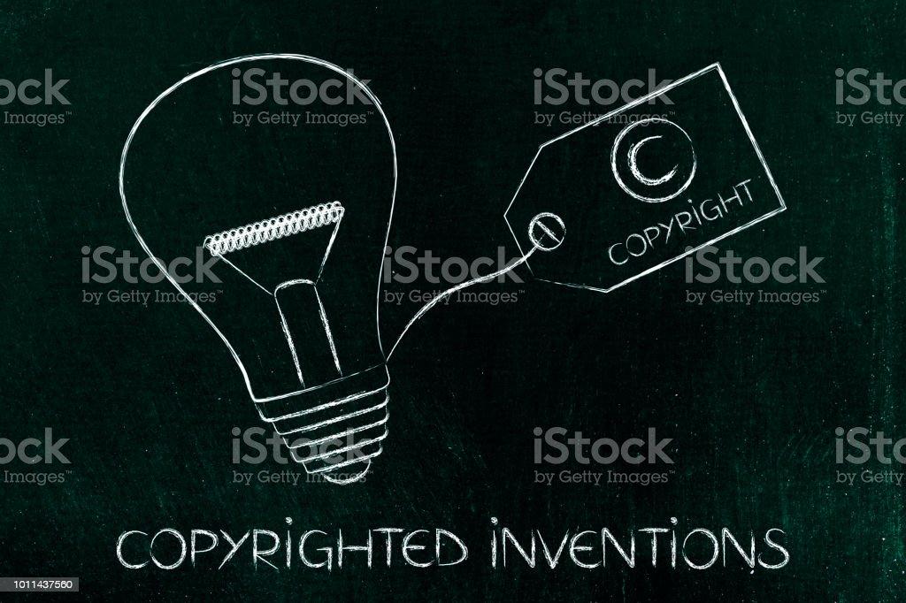 idea lightbulb with copyright tag stock photo