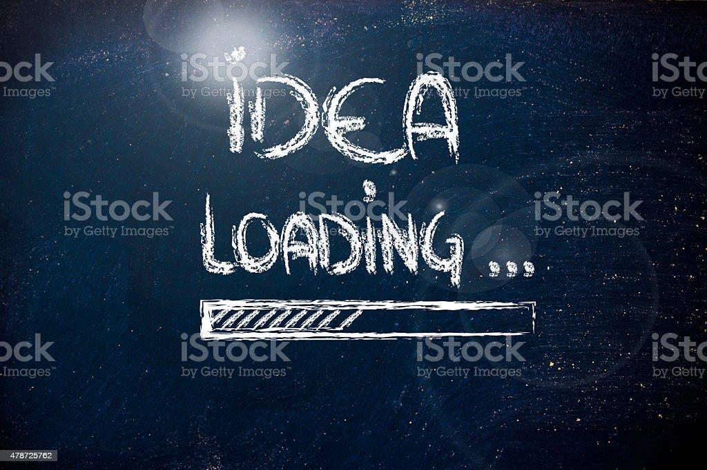 idea loading, progress bar on blackboard stock photo