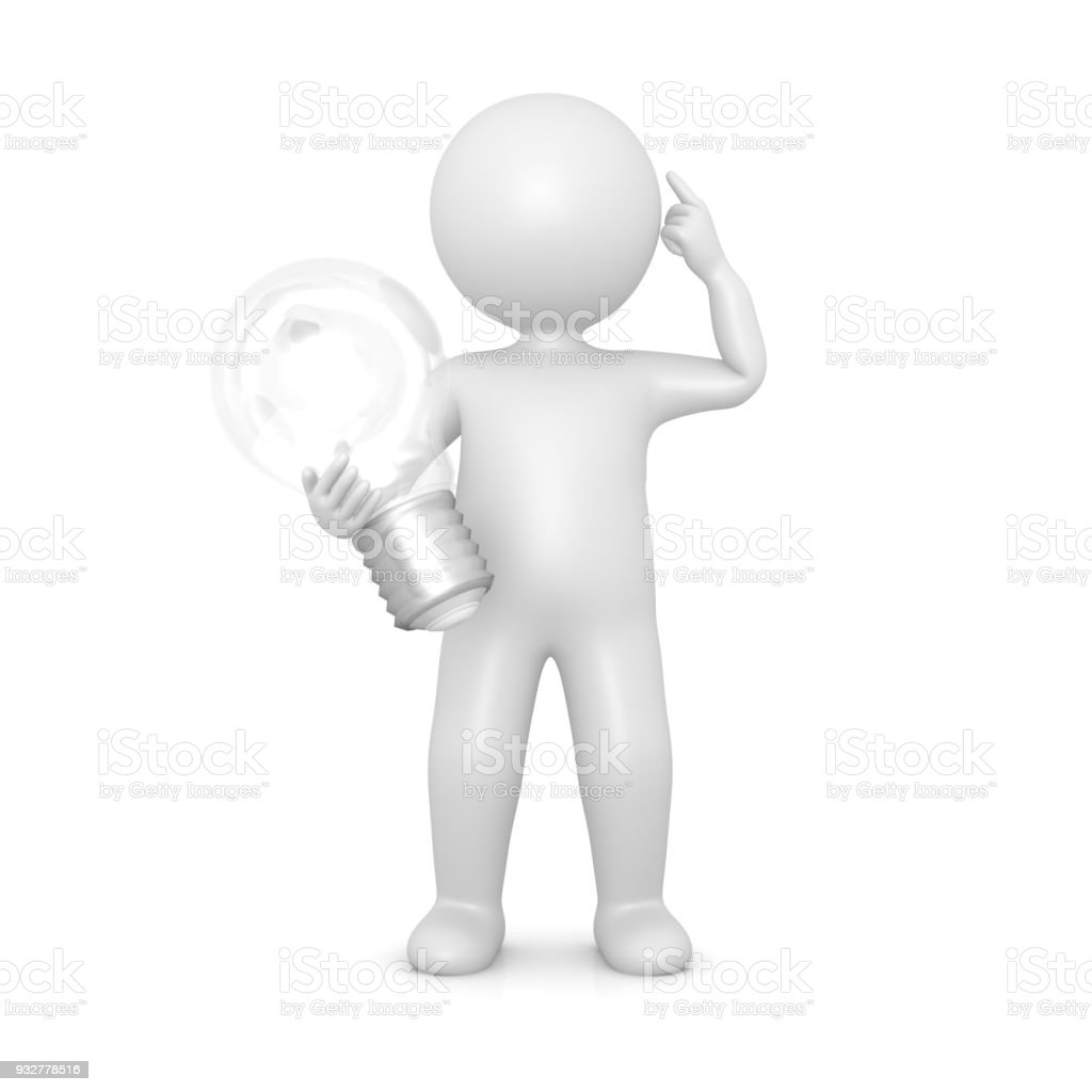 Idea Man Brainstormin Solution Person Light Bulb Sign Symbol Icon Thinking Innovation Coaching Template Stick Figure
