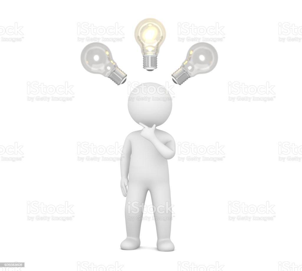 Idea Man Person Thinking Stick Figure Brainstorming People 3d Light
