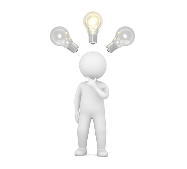 idea man person thinking stick figure brainstorming people 3d light bulbs character hand on chin cut out white background stock photo