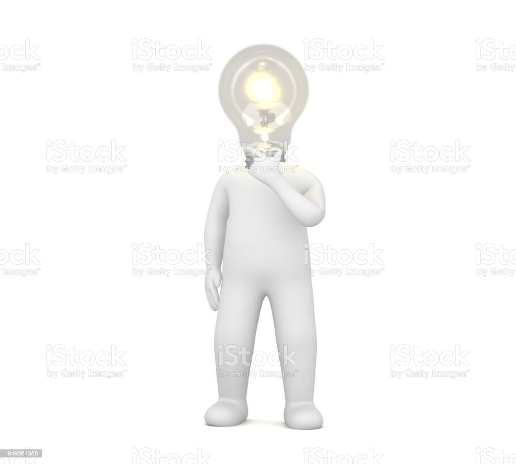 Idea Man Person Woman Stick Figure 3d People With Light Bulb Head Thinking About Problems Rendering