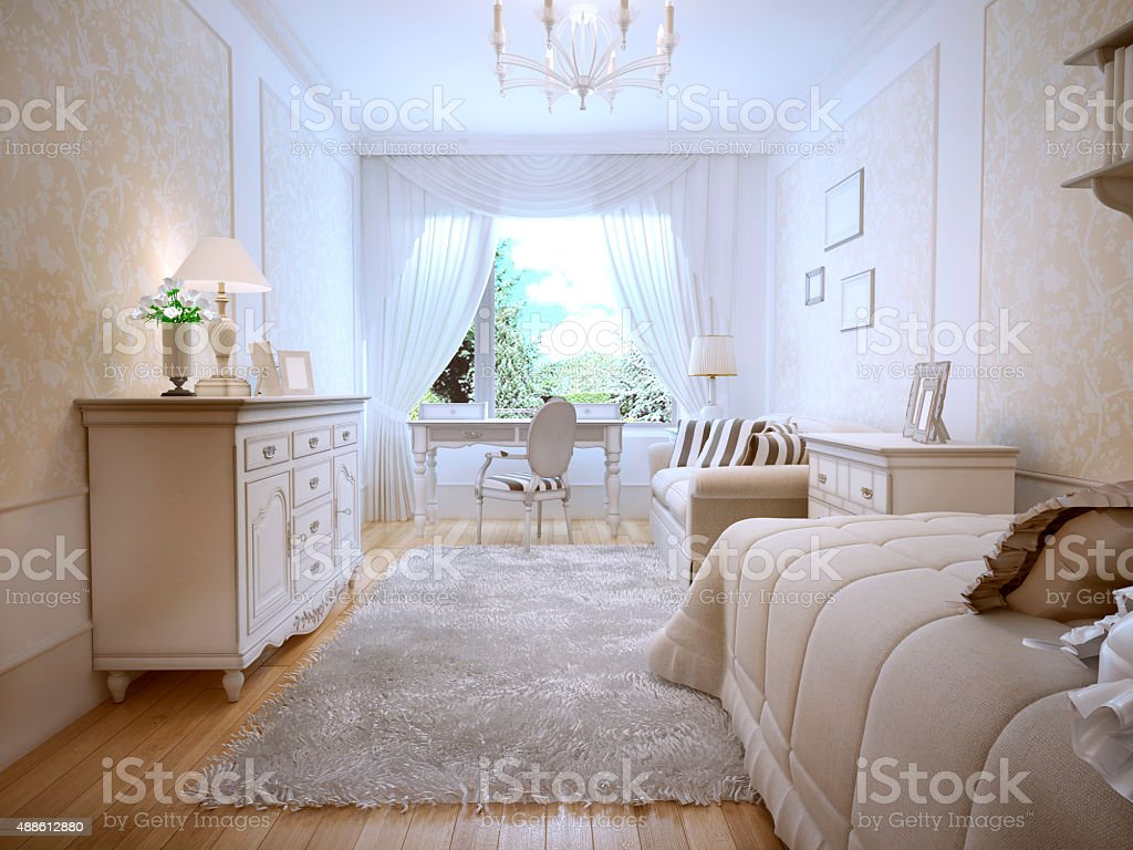 Idea of classic master bedroom stock photo