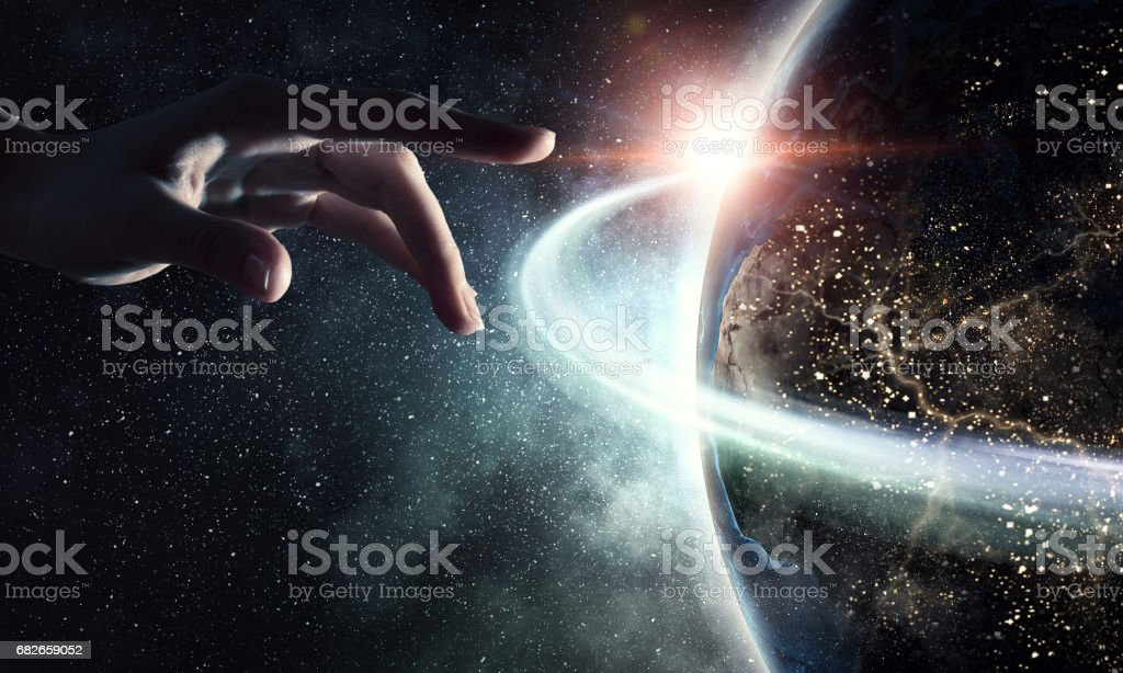 Idea of Earth creation stock photo