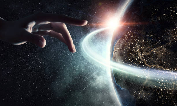 idea of earth creation - god stock photos and pictures