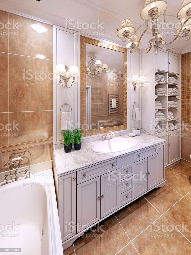 Idea of luxury classic bathroom design stock photo