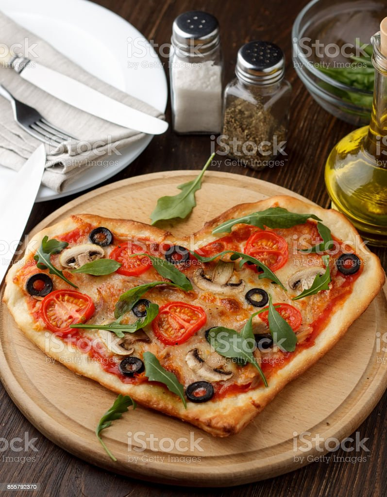 Idea Of Romantic Dish For Valentineu0027s Day Celebration: Pizza In Heart Shape  With Mushrooms And