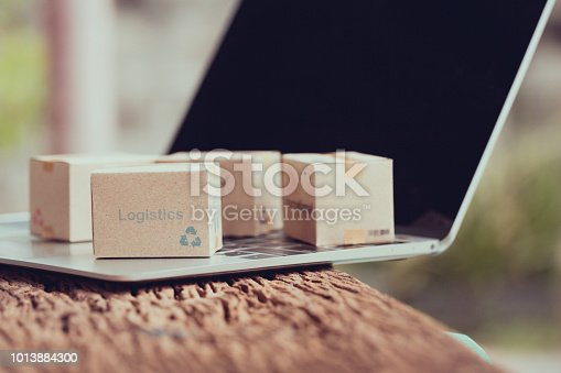 868776578istockphoto Idea of shopping online and service / e-commerce concept. Stack boxes on laptop for Customer can buy from electronic internet. 1013884300