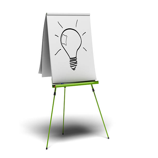 idea green flipchart with a light bulb drawn on it, image is over a white background flipchart stock pictures, royalty-free photos & images
