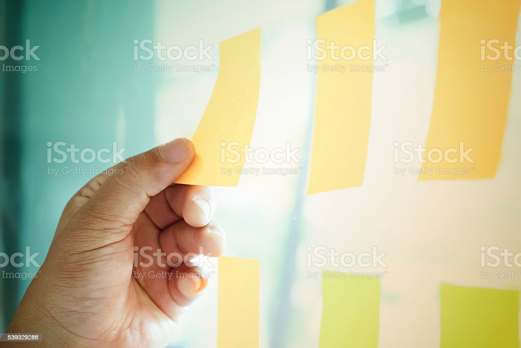 Idea postit sticky note stock photo