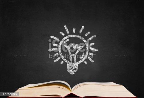 istock idea symbol and  text book on blackboard background 177558560