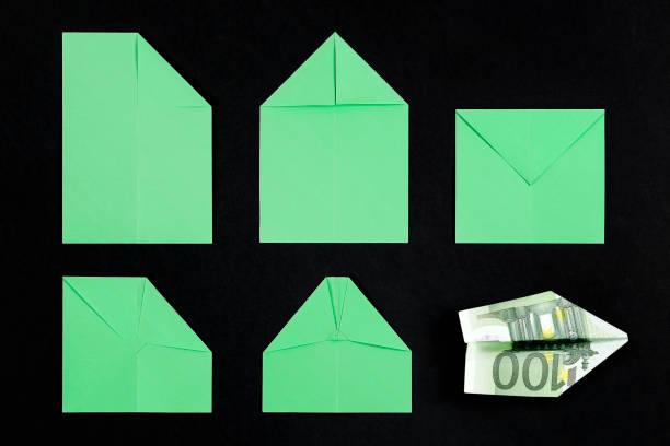 idee, geld - origami anleitungen stock-fotos und bilder