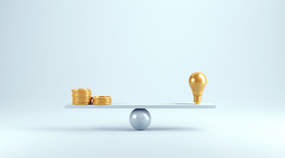 Idea vs coins on scales, Weights with light bulb and coins, minimal, 3d render.