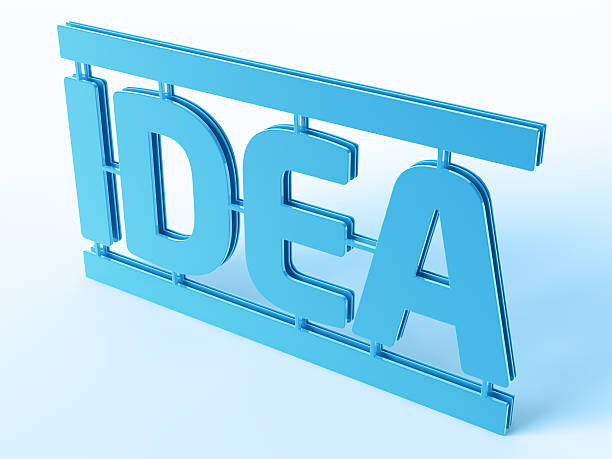 Idea Word Model Kit Symbol 3D Render of a blue Idea Word Symbol (Model Kit Style). Very high resolution available! Use it for Your own composings!Related images: blue 3d business NOT map NOT background stock pictures, royalty-free photos & images