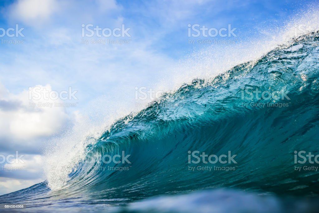 Ideal barrel wave. Blue ocean in underwater stock photo