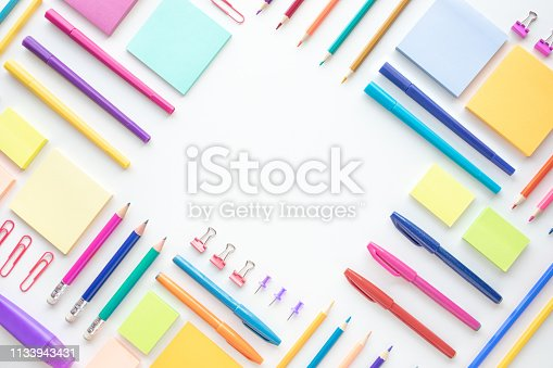 Ideas creativity concepts with flat lay of colorful stationery on wite space background.back to School.Modern mock up of business and education.