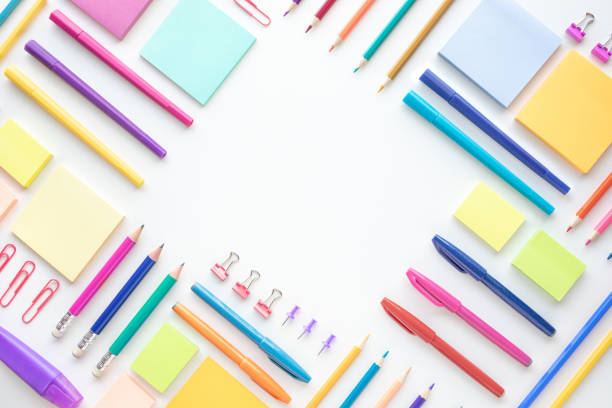 ideas creativity concepts with flat lay of colorful stationery on wite space background.back to school.modern mock up of business - nieruchomy zdjęcia i obrazy z banku zdjęć